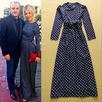 2014 Fashion Ladies fashion polka dot print elegant slim waist lacing slim formal Dress Full dress one-piece Dress