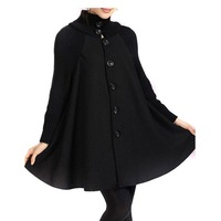 BIG IS  BEAUTIFUL Autumn winter  loose cloak woolen female square collar outerwear High Street overcoat Plus size clothing