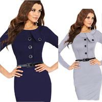 Women Elegant Pencil Dress OL Work Bandage Bodycon Dress Button Decoration Autumn Winter Dress Plus Size XXL