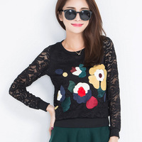 2014 new autumn / winter sweet slim legging lace shirt multi color slim Tee Women Blouse Female Tops with Flower Appliques 2361