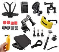 13-In-1 GoPro Camera Accessories Bag Monopod Strap for HD HERO 3 3+ Hero 4 Black SJ4000 Mini Camcorder Mount