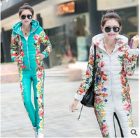 High Quality Winter Duck Down Jacket Women Suit 2014 New Brand Plus Size Floral Printed Slim Casual Parka (Coat+Pants) Set