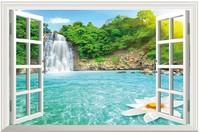 New Falls Landscape   PVC Fake Window Sticker 70*46cm Sofa Background Art Mural Home Decor Removable Wall Sticker fj-35