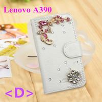 Hot Selling Rhinestonr Leather Flip Wallet Phone Case For Lenovo A390 Black Inner Cover Card Holder 1PCS