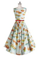 New 50S Vintage Pinup Sweet Fresh Green Color Little Polka Dot Small Cartoon Cookies Cake Print Swing Dress for Birthday Party