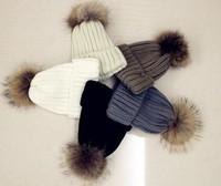 1pcs/ retail and wholesale 2014 children winter hats boy and girls children cap Children Fur flowers knitted hat