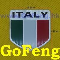 10pcs/lot 4.8*4.8cm Italy flag Metal Emblems Car Decoration Stickers Cool DIY Badge free shipping