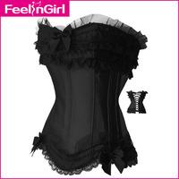 satin boned black lace trim Overbust waist training corset bustier #4099.D plus size corselet S/M/L/XL/XXL/XXXL/4XL/5XL/6XL