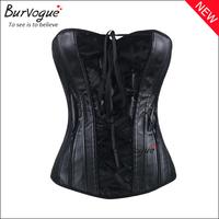 Hot sexy women corset top black overbust corset bones front lace zipper body shaper lady Push Up slim waist corsets and bustiers