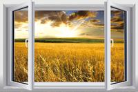 New Pastoral Landscape   PVC Fake Window Sticker 70*46cm Sofa Background Art Mural Home Decor Removable Wall Sticker ty-9