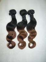 Discount!!Oxette Ombre Hair 100g/PC Hair Extensions Weft Weave Dip Dye Two Tone #T1B/#4 100% Malaysian Ombre Hair Body Wave
