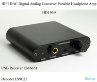 HIFI DAC Digital Analog Converter Portable USB Receiver CM6631 DecoderES9023 Headphone Amp HD1969 USB Power Supply Free Shipping