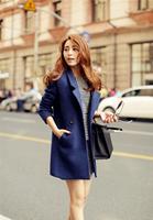 Casacos Femininos New 2014 Women Coat Winter Blue Slim Wool Coat Long Brand Desigual Woolen Coat Female Overcoat Fast Shipping