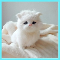 2014 Cute simulate  Living Animale Cat Sounds and Moving tail  plush toys Models Baby dolls for christmas gift   A116