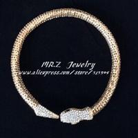 Wholesale Fashion 18K GP Rhinestone Snake Collar Necklace Women Jewelry 5pcs/lot Free Shipping