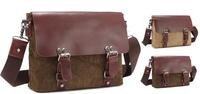 Men's Genuine Leather & Canvas handbags Man Canvas Bag  Male messenger Bags Shoulder Bag Casual Satchel BH-8002 Free Shipping