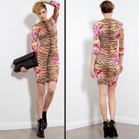 new 2014 high  quality  lady's sexy women flower print  party bandage club bodycon dress bodysuit dresses