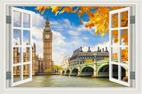 New Big Ben  HD Pattern  Fake Window Sticker 105*70cm Sofa Background Art Mural Home Decor Wall Sticker zl-1