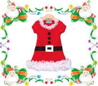 Lovely Santa Claus Costume Xmas Party Baby Kids Girls Belt RUFFLES Skirt Dress