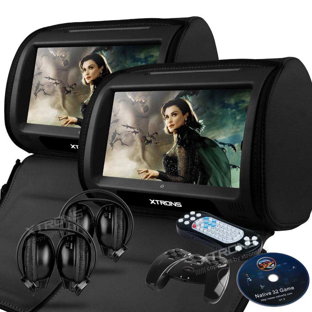 """XTRONS Black Zipper Cover 2X 9"""" HD Touch Screen Car Headrest DVD Player with 32Bit Game+USB+SD+IR/FM transmitter, IR headphones(China (Mainland))"""