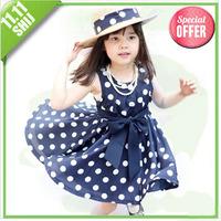 11.11 hot sale  girl dress Free shipping (1pcs) retail 3~7age cotton shij kids apparel free shipping