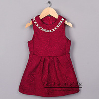 New Hot Sale Party Girl Dresses Red Classics Little Lady Cotton Vestido Child Clothing Free Shipping GD41007-15
