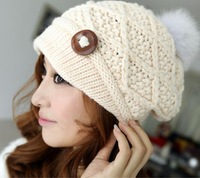 2014 Winter thick Warm hats for women,Twist Knitted Hat Beanies Women Cap for Winter,Rabbit fur cap Free Shipping