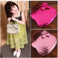 2014 winter fashion chledren girls hello kitty leather hand bags kids pink princess bling cross body bags Christmas gift DZ25