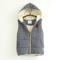 New Autumn Plush Thicken Dot Printed Cute Hoodies Warm Vest For Women 4 Colors