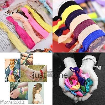 Wholesale 10Pcs Elastic Hair Tie Hair Band Pretty Knot Rubber Band Bracelet Hair Accessory wristband(China (Mainland))