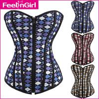 Free Shipping New Fashion Women Bustier Lingerie Waist Training Corset Bustier zipper front Sexy Grid Corset Top 4109-5