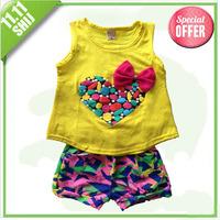 2014 new children's clothing set children suit vest shorts suit bow love cotton dress up free shipping