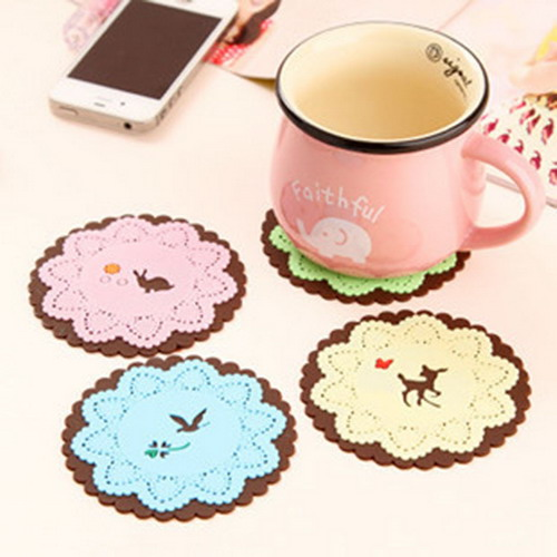Free shipping Cute Cartoon Insulation Mat Coffee Cup Mat Lace Coaster(China (Mainland))