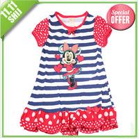 11.11 wholesale 1pcs retail brand girls cartoon print casual cute dress 3~7age kid apparel minne mouse/princess kid dress