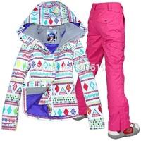 New 2014 free shipping Hot sale lady geometric shape snowboard ski suit jacket clothes sets pants windproof waterproof