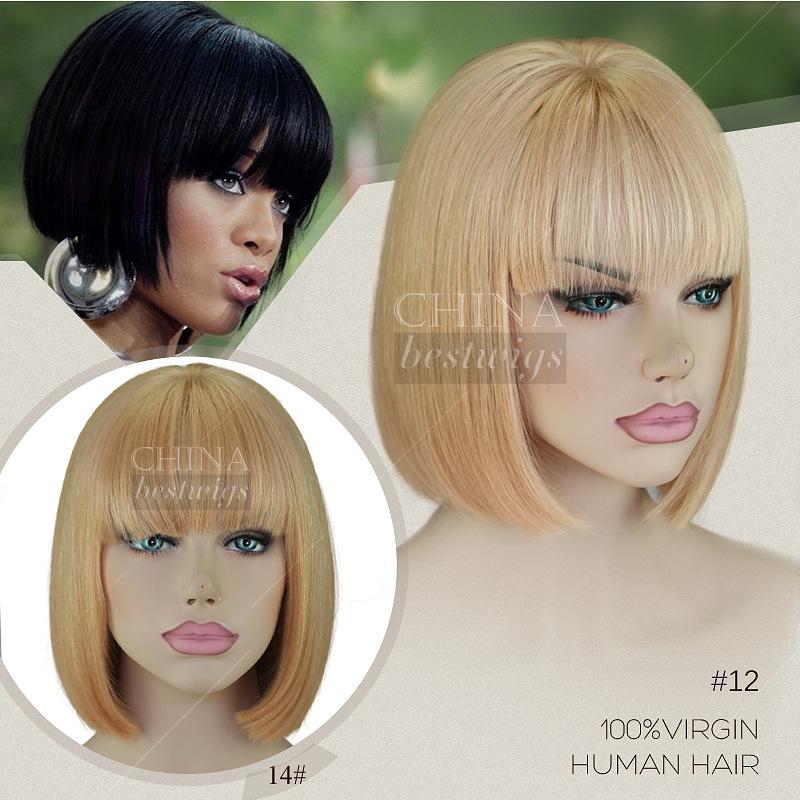rihanna moda peruca dianteira do laço glueless perucas bob curto cabelo humano perucas bob com franja para as mulheres negras(China (Mainland))