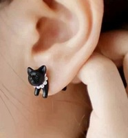 EX178 cheap jewelry wholesale European and American three-dimensional animal leopard cat imitation pearl earrings piercing