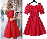 New arrival European 2014 summer hot sale fashion women pleated princess casual dress plus size M-5XL slim vestidos fw-733