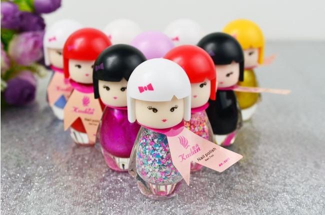 10 bottle New Cute Lovely Baby Doll Design Bright Glitter Colors Gel Nail Polish Nail Varnish(China (Mainland))