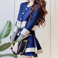 2014 Wool Real Blouse Selling Spring Korean Two-piece Dresses Celebrities Small Fields Breathe Sweet Mosaic Skirt Suit Promotion