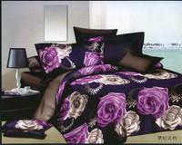 purple black white gray flowers rose Cotton queen size Duvet / Quilt Cover Bedding sets sheet pillowcase