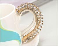 Baroque Vintage Crystal Rhinestone Hanging Earrings Ear Clip Gold Plated Ear Cuff
