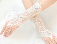 2014-2015 the new bride gloves high-grade fine handmade lace rhinestone hook gloves the bride wedding dress accessories