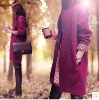 2014 New Fashion Women Winter Coat British Style Woolen Overcoat Medium-long Loose Plus Size Brand Casacos Femininos Outerwear
