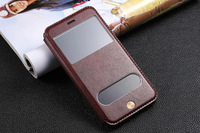New S View Window Luxury Brand PU Leather Case for Apple iphone 6 plus 4.7 inch 5.5 inch iphone6 6G Flip Cover Phone Bags Cells