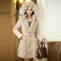 2014 Fashionable Women Luxury Style Long Winter Parkas Ladies Fur Collar Outerwear women brand winter outwear casacos feminios