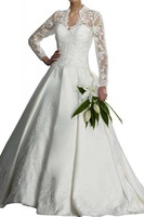 Long Sleeve Appliques Draped Custom Made Formal Wedding Bridal Ball Gowns
