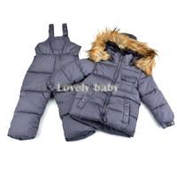 New hot Children boy girls winter warm down jacket suit set thick coat + jumpsuit Baby clothing set kids cotton-padded jacket b6