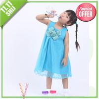 shij029 christmas baby clothing wholesale summer flower princess cute girl's fashion dresses blue/white/pink