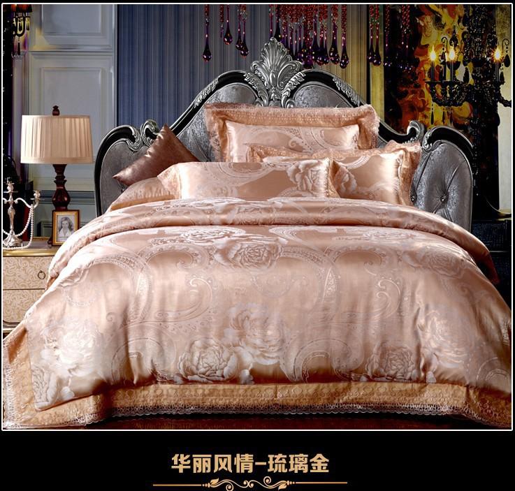 luxo ouro laço de cetim jacquard jogo do fundamento para rei edredom queen size tampa colcha cama de folha de texile colcha(China (Mainland))